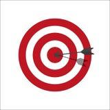 Apunte la diana o la flecha en la línea icono de blanco del arte Blanco con los círculos rojos y blancos Colores clásicos Ilustra stock de ilustración