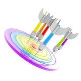 Apunte la marca brillante del objetivo con los dardos aislados en blanco stock de ilustración
