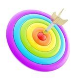 Apunte la marca brillante del objetivo con los dardos aislados en blanco ilustración del vector