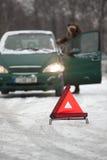 Apuro del coche en el camino Imagen de archivo libre de regalías