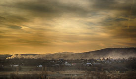 Apus de toamna undeva in Romania Stock Photography
