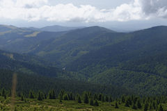 Apuseni mountains. Panoramic view of the forest covered Apuseni mountains in Romania Stock Photo