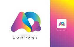 AQ de Mooie Kleuren van Logo Letter With Rainbow Vibrant Kleurrijk t Stock Foto