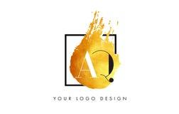 AQ gouden Brief Logo Painted Brush Texture Strokes Stock Afbeeldingen