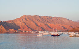 Aqaba, Jordan, at dawn. Harbor of Aqaba, Jordan, at dawn Stock Photo