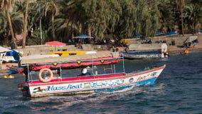 AQABA, JORDAN- MAY 01, 2016: Glass boats. Glass boats for rent at the beach of Aqaba in Jordan Royalty Free Stock Photos