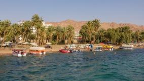 AQABA, JORDAN- MAY 01, 2016: Glass boats. Glass boats for rent at the beach of Aqaba in Jordan Royalty Free Stock Photo