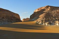Aqabat desert. Africa, Sahara, Egypt. Tower mountains Aqabat desert at sunset. Africa, Sahara, Egypt stock photography