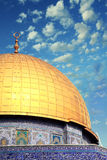 Aqsa religious forces. Golden dome of the sky against the backdrop of the terrible Royalty Free Stock Image