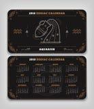 Aquário disposição horizontal do tamanho do bolso do calendário do zodíaco de 2018 anos Foto de Stock Royalty Free