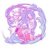Aquário do sinal do zodíaco Homem novo bonito com o cabelo longo que guarda a grande ânfora Paleta pastel do goth Fotos de Stock