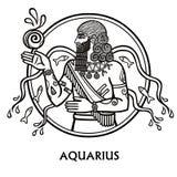 Aquário do sinal do zodíaco Luz do vetor art Desenho preto e branco do zodíaco isolado no branco Imagem de Stock Royalty Free