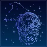 Aquário do sinal do zodíaco como uma menina bonita A constelação de Aquário Céu nocturno horoscope astrology Vetor ilustração royalty free