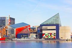 Aquário nacional no porto interno de Baltimore no inverno Imagem de Stock
