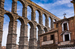 aquädukt Segovia, Spanien der Greifer des Teufels auf dem Stein Stockbild