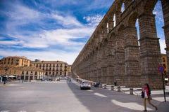 aquädukt Segovia, Spanien der Greifer des Teufels auf dem Stein Lizenzfreie Stockfotos