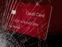 Aquí está una tarjeta de crédito que parece el vidrio quebrado y se puede utilizar para ilustrar muchos temas relacionados con la ilustración del vector