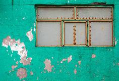 Aqua εξωτερικό με το χρώμα αποφλοίωσης και την περιοχή παραθύρων οξύδωσης Στοκ φωτογραφία με δικαίωμα ελεύθερης χρήσης