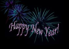 Aqua и Новый Год фиолетовых фейерверков счастливый Стоковое фото RF