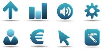 aqua 3 ikony serii ustalają sieci Zdjęcia Stock