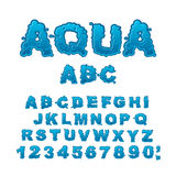 Aqua ABC. Drops of water alphabet. Wet Letters. Water font. Royalty Free Stock Images