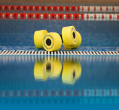 Aqua aerobics dumbbells reflected in water Stock Photos