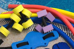 Aqua aerobics equipment Stock Photography