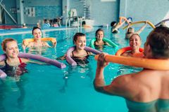 Aqua aerobics, healthy water sport Stock Photo