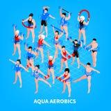 Aqua Aerobics Isometric Composition ilustração stock