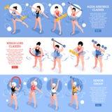 Aqua Aerobics Isometric Horizontal Banners ilustração royalty free