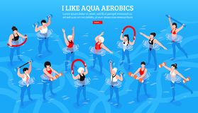 Aqua Aerobics Isometric Horizontal Illustration Photos libres de droits