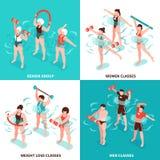 Aqua Aerobics Isometric Concept. Aqua aerobics men and women classes senior group for persons losing weight isometric concept isolated vector illustration stock illustration