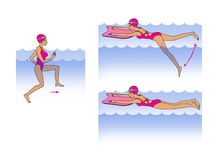 Aqua aerobics, training in water. Aqua aerobics, training in the water. The girl performs a swing exercise with the use of a board for swimming and running in vector illustration