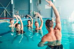 Aqua aerobics in water sport center Stock Photography