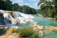 Aqua Azul waterfall on Chiapas Royalty Free Stock Images
