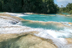 Aqua Azul waterfall on Chiapas Stock Photos