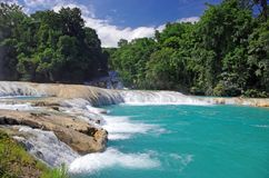 Aqua Azul waterfall, Chiapas, Mexico. Aqua Azul, waterfalls situated in the tropical rainforest of Chiapas, Mexico Stock Image
