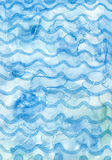 Aqua Background. Created with watercolor and pencils, with a wave decorative motif Royalty Free Stock Photos