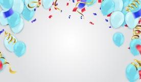 Aqua baloons op boven met duidelijke die weg op witte B wordt geïsoleerd royalty-vrije illustratie