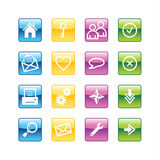 Aqua basic web icons Royalty Free Stock Photography