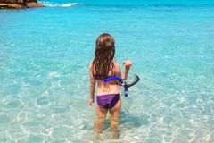 Aqua beach in ibiza formentera rear kid girl Stock Images