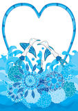 Aqua Bird Love Flower Decor_eps Royalty Free Stock Photo