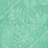 Aqua-blauer antiker Blumendamast-Hintergrund Lizenzfreie Stockfotografie