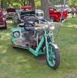 Aqua Blue Chevy Motorcycle three wheels Royalty Free Stock Photography