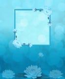Aqua Blue en Lotus Flowers Background royalty-vrije illustratie