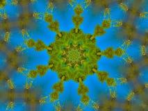 Aqua Blue et Mandala Design verte Illustration Stock