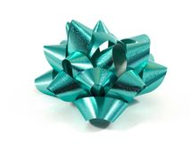 Aqua Blue Gift Bow. An isolated aqua blue gift bow stock photo