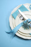 Aqua blue Merry Christmas dining table place setting Royalty Free Stock Images