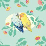 Aqua blue pattern with love birds. stock image