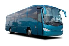 Aqua Blue Tour Bus Royalty Free Stock Photography